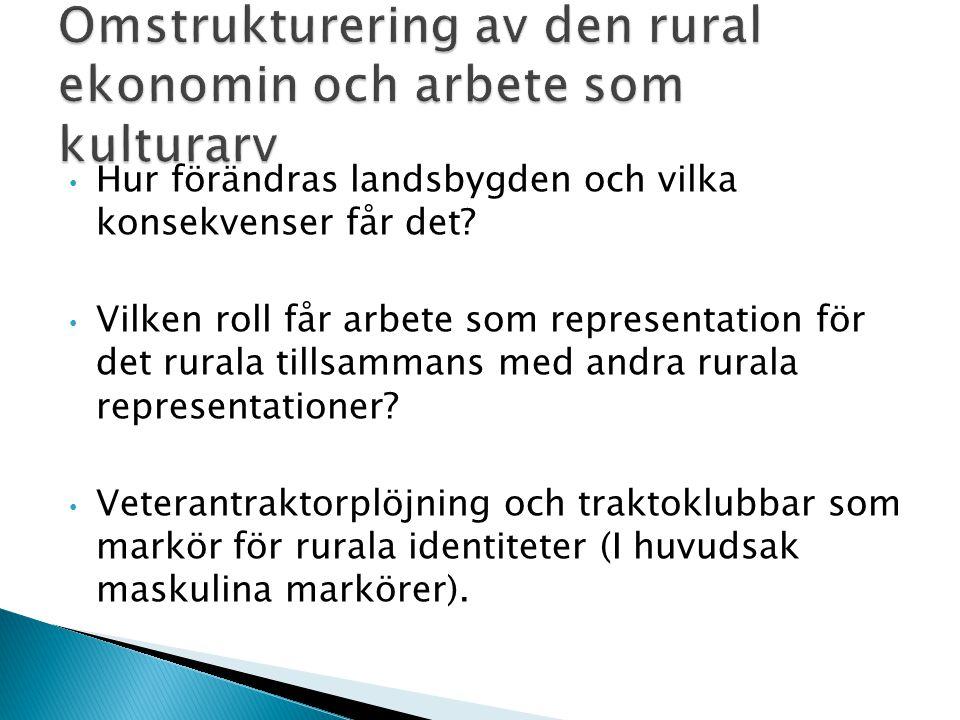 Hur förändras landsbygden och vilka konsekvenser får det? Vilken roll får arbete som representation för det rurala tillsammans med andra rurala repres