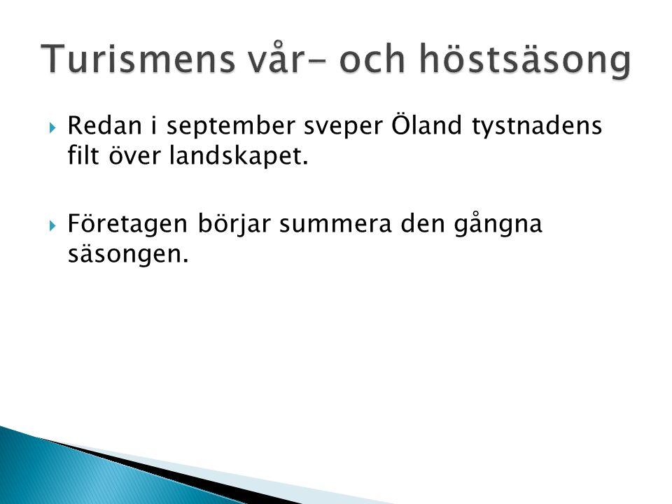 Redan i september sveper Öland tystnadens filt över landskapet.  Företagen börjar summera den gångna säsongen.