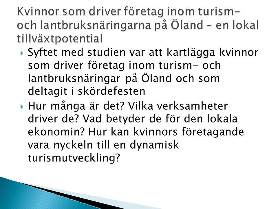  Syftet med studien var att kartlägga kvinnor som driver företag inom turism- och lantbruksnäringar på Öland och som deltagit i skördefesten  Hur må