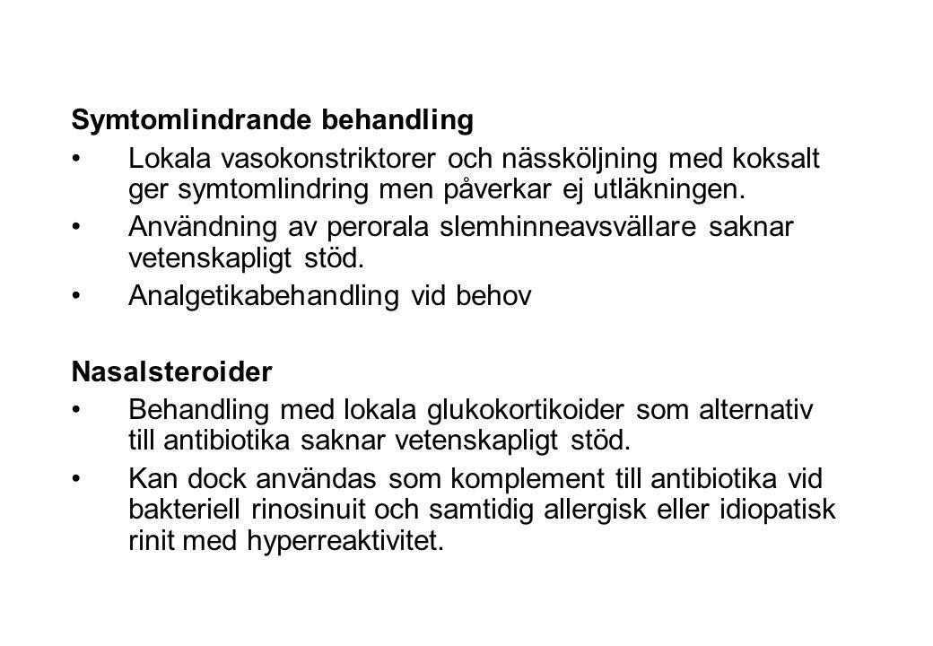 Kompletterande läkemedelsalternativ-bakteriell rinosinuit Symtomlindrande behandling Lokala vasokonstriktorer och nässköljning med koksalt ger symtoml