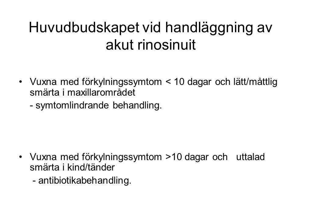 Huvudbudskapet vid handläggning av akut rinosinuit Vuxna med förkylningssymtom < 10 dagar och lätt/måttlig smärta i maxillarområdet - symtomlindrande
