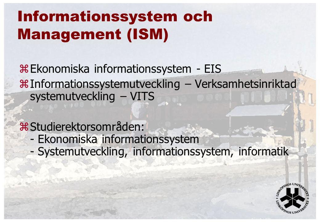 Informationssystem och Management (ISM) zEkonomiska informationssystem - EIS zInformationssystemutveckling – Verksamhetsinriktad systemutveckling – VITS zStudierektorsområden: - Ekonomiska informationssystem - Systemutveckling, informationssystem, informatik