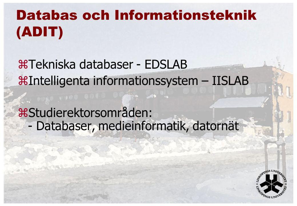Databas och Informationsteknik (ADIT) zTekniska databaser - EDSLAB zIntelligenta informationssystem – IISLAB zStudierektorsområden: - Databaser, medieinformatik, datornät