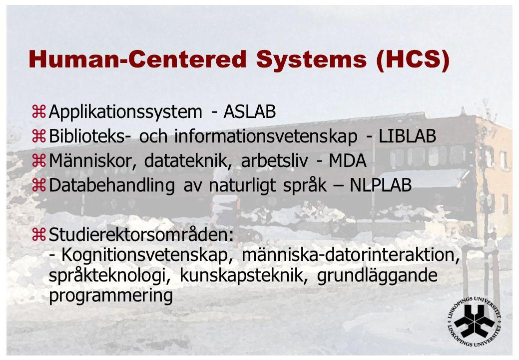 Human-Centered Systems (HCS) zApplikationssystem - ASLAB zBiblioteks- och informationsvetenskap - LIBLAB zMänniskor, datateknik, arbetsliv - MDA zDatabehandling av naturligt språk – NLPLAB zStudierektorsområden: - Kognitionsvetenskap, människa-datorinteraktion, språkteknologi, kunskapsteknik, grundläggande programmering