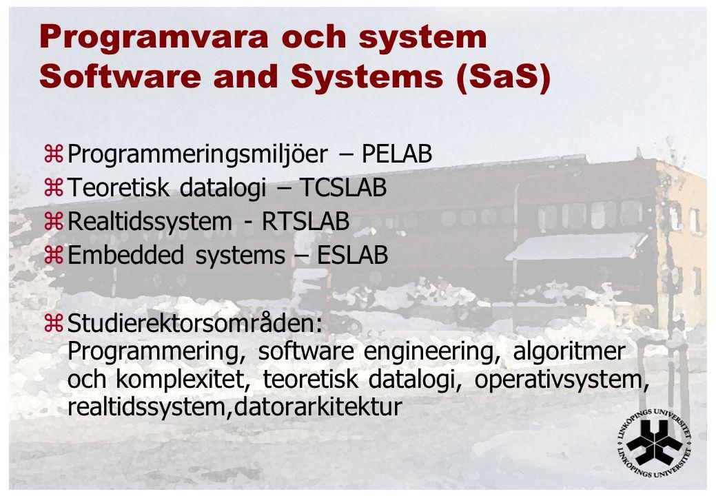 Programvara och system Software and Systems (SaS) zProgrammeringsmiljöer – PELAB zTeoretisk datalogi – TCSLAB zRealtidssystem - RTSLAB zEmbedded systems – ESLAB zStudierektorsområden: Programmering, software engineering, algoritmer och komplexitet, teoretisk datalogi, operativsystem, realtidssystem,datorarkitektur