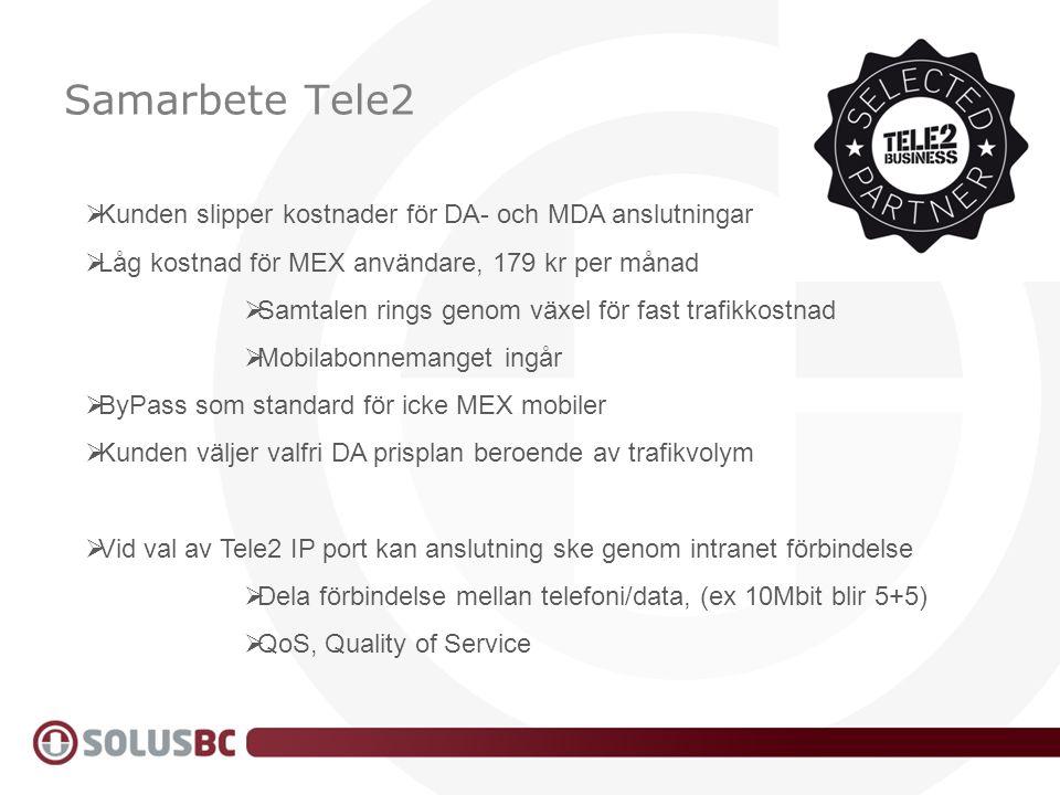 Samarbete Tele2  Kunden slipper kostnader för DA- och MDA anslutningar  Låg kostnad för MEX användare, 179 kr per månad  Samtalen rings genom växel
