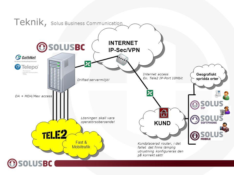 Teknik, Solus Business Communication INTERNET IP-Sec/VPN KUND Internet access Ex. Tele2 IP-Port 10Mbit DA + MDA/Mex access Fast & Mobiltrafik Lösninge