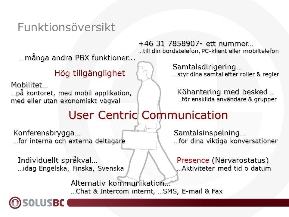 Samtalsdirigering… …styr dina samtal efter roller & regler Hög tillgänglighet …många andra PBX funktioner... User Centric Communication Alternativ kom