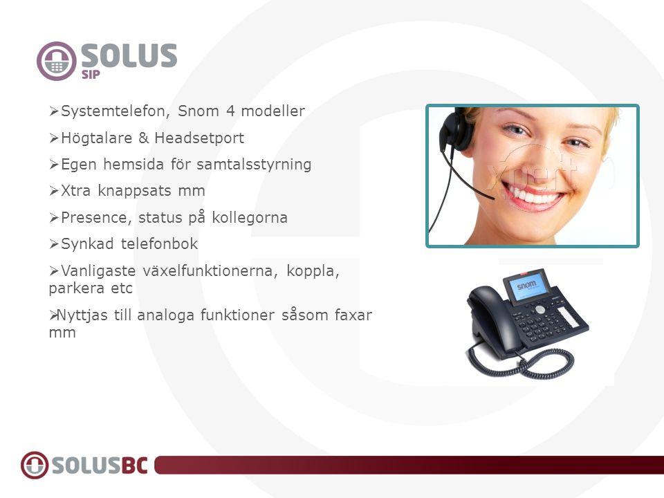 SIP  Systemtelefon, Snom 4 modeller  Högtalare & Headsetport  Egen hemsida för samtalsstyrning  Xtra knappsats mm  Presence, status på kollegorna
