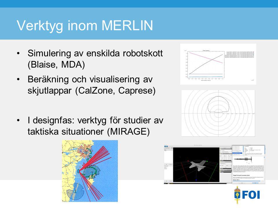 Verktyg inom MERLIN Simulering av enskilda robotskott (Blaise, MDA) Beräkning och visualisering av skjutlappar (CalZone, Caprese) I designfas: verktyg