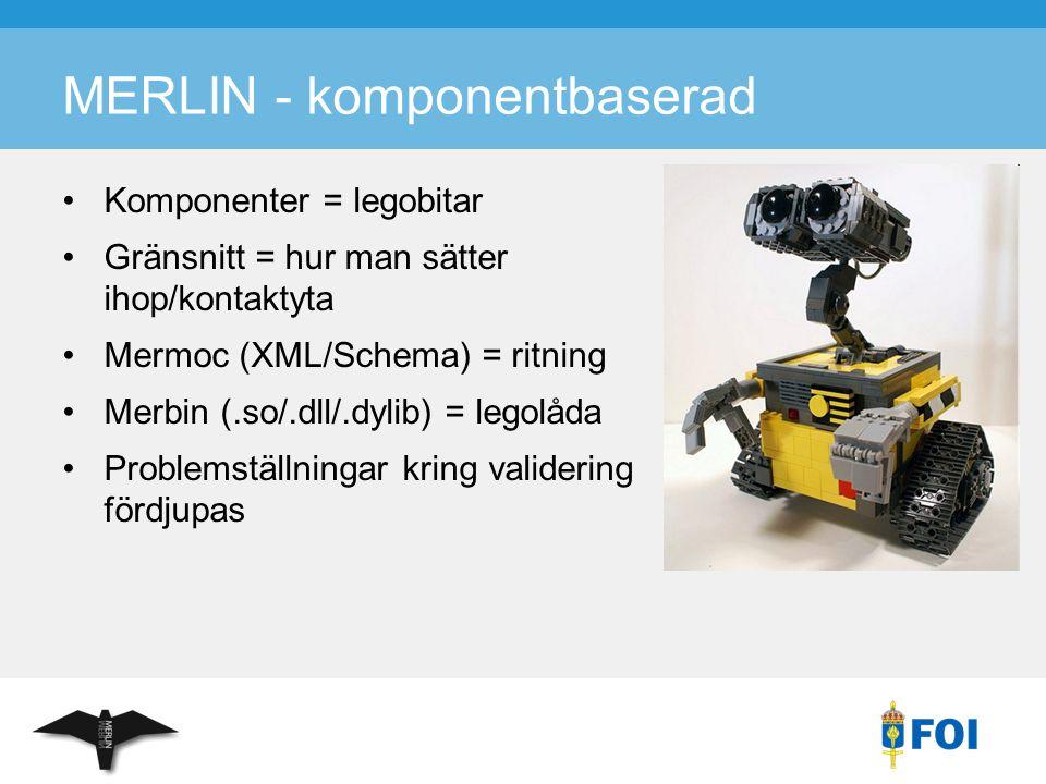 MERLIN - komponentbaserad Komponenter = legobitar Gränsnitt = hur man sätter ihop/kontaktyta Mermoc (XML/Schema) = ritning Merbin (.so/.dll/.dylib) =