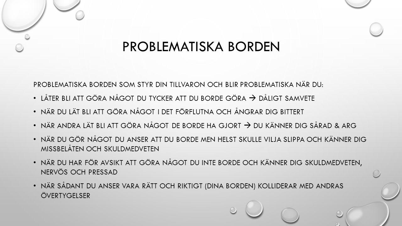 PROBLEMATISKA BORDEN PROBLEMATISKA BORDEN SOM STYR DIN TILLVARON OCH BLIR PROBLEMATISKA NÄR DU: LÅTER BLI ATT GÖRA NÅGOT DU TYCKER ATT DU BORDE GÖRA 