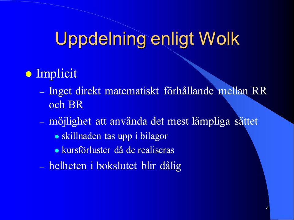 4 Uppdelning enligt Wolk l Implicit – Inget direkt matematiskt förhållande mellan RR och BR – möjlighet att använda det mest lämpliga sättet l skillna
