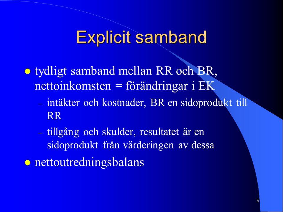 5 Explicit samband l tydligt samband mellan RR och BR, nettoinkomsten = förändringar i EK – intäkter och kostnader, BR en sidoprodukt till RR – tillgå