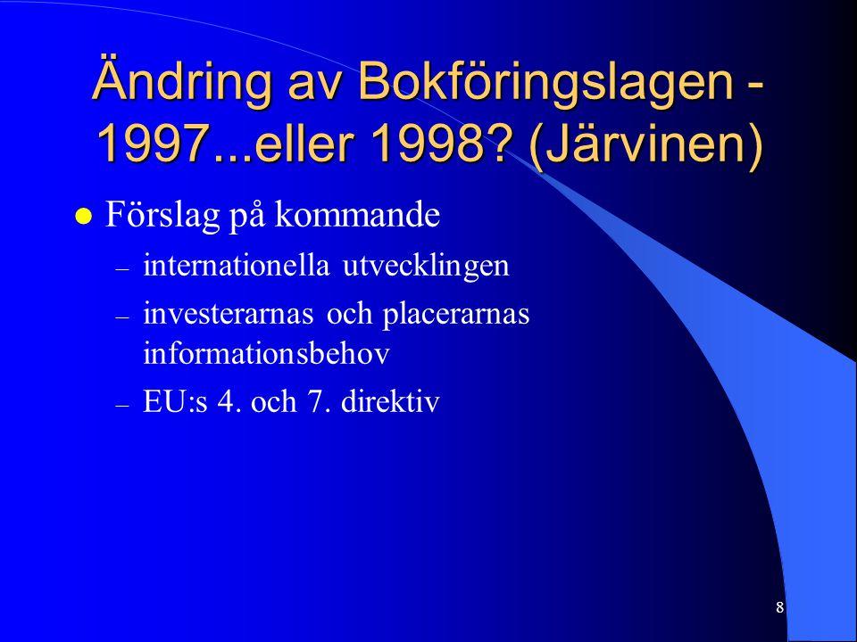 8 Ändring av Bokföringslagen - 1997...eller 1998? (Järvinen) l Förslag på kommande – internationella utvecklingen – investerarnas och placerarnas info
