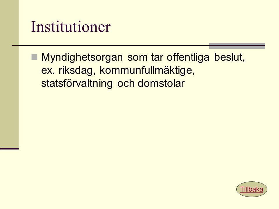 Institutioner Myndighetsorgan som tar offentliga beslut, ex. riksdag, kommunfullmäktige, statsförvaltning och domstolar Tillbaka