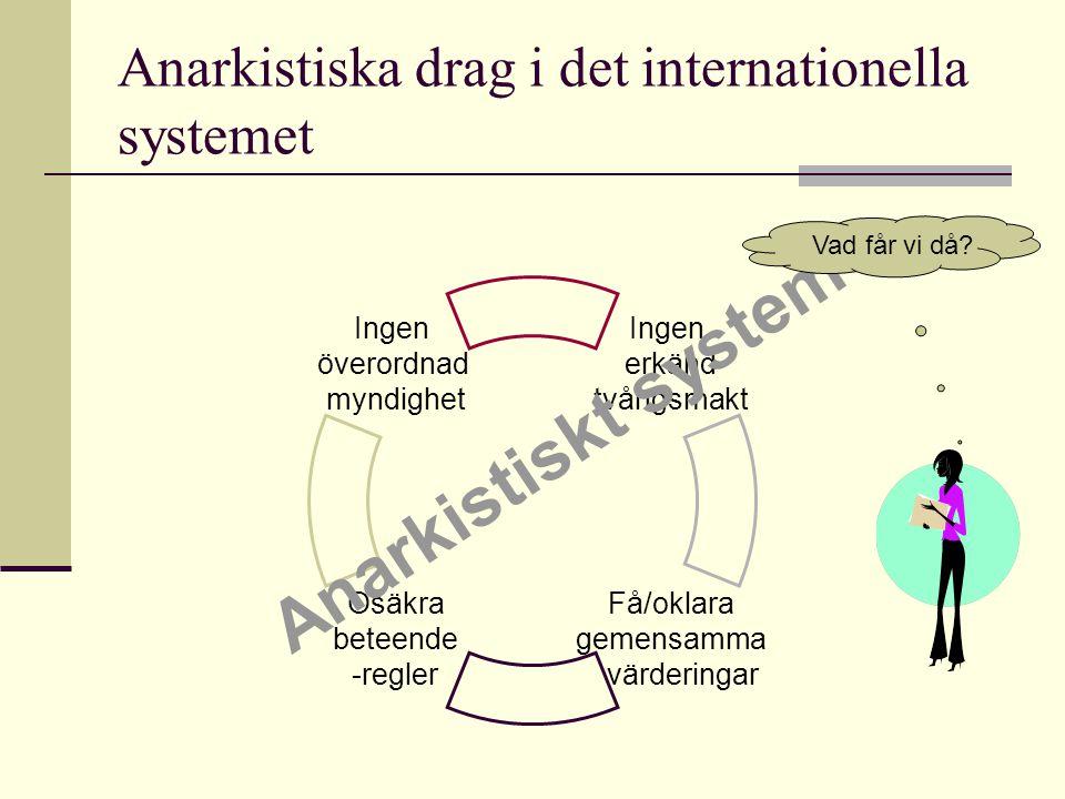 Anarkistiska drag i det internationella systemet Ingen erkänd tvångsmakt Få/oklara gemensamma värderingar Osäkra beteende -regler Ingen överordnad myn