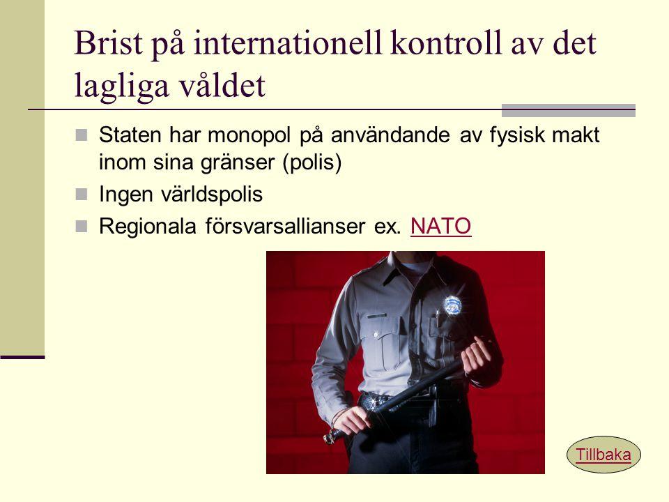 Brist på internationell kontroll av det lagliga våldet Staten har monopol på användande av fysisk makt inom sina gränser (polis) Ingen världspolis Reg
