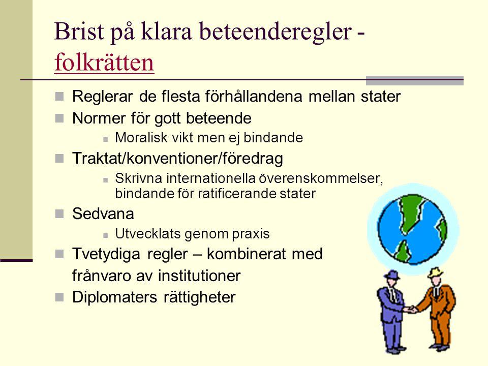 Brist på klara beteenderegler - folkrätten folkrätten Reglerar de flesta förhållandena mellan stater Normer för gott beteende Moralisk vikt men ej bin