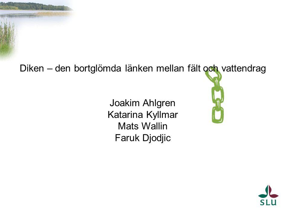 Diken – den bortglömda länken mellan fält och vattendrag Joakim Ahlgren Katarina Kyllmar Mats Wallin Faruk Djodjic