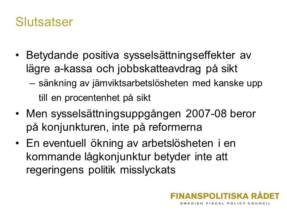 Slutsatser Betydande positiva sysselsättningseffekter av lägre a-kassa och jobbskatteavdrag på sikt –sänkning av jämviktsarbetslösheten med kanske upp till en procentenhet på sikt Men sysselsättningsuppgången 2007-08 beror på konjunkturen, inte på reformerna En eventuell ökning av arbetslösheten i en kommande lågkonjunktur betyder inte att regeringens politik misslyckats