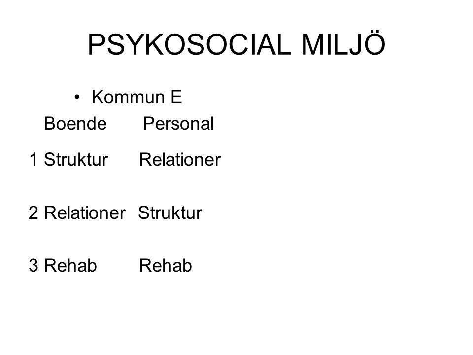 PSYKOSOCIAL MILJÖ Kommun E Boende Personal 1 Struktur Relationer 2 Relationer Struktur 3 Rehab Rehab