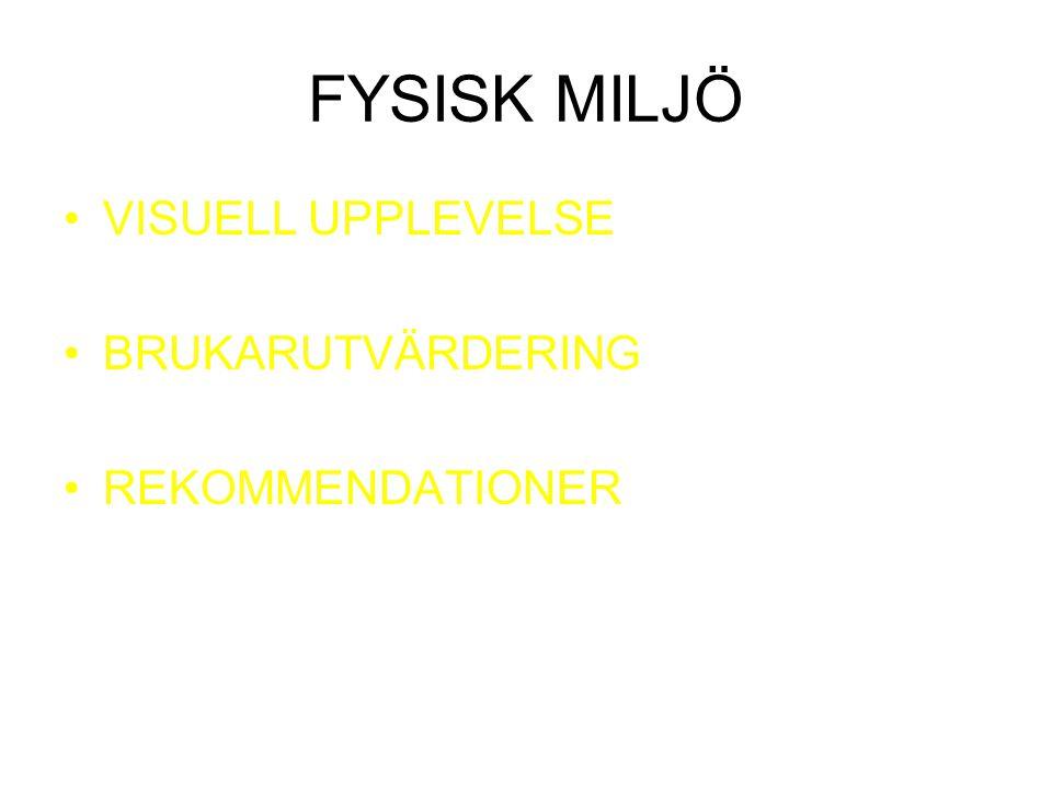 FYSISK MILJÖ VISUELL UPPLEVELSE BRUKARUTVÄRDERING REKOMMENDATIONER