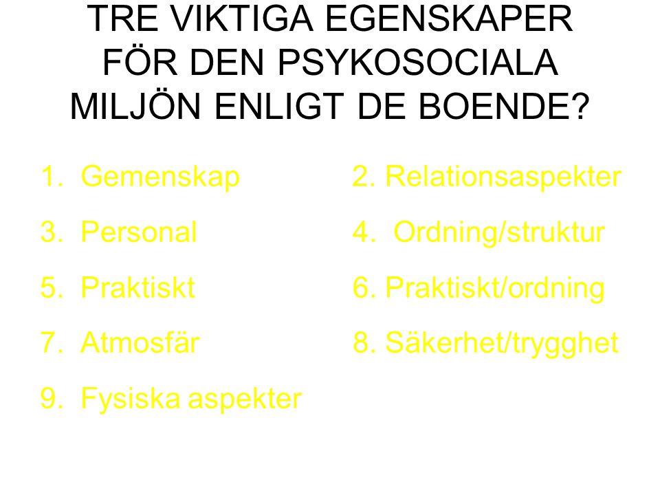 TRE VIKTIGA EGENSKAPER FÖR DEN PSYKOSOCIALA MILJÖN ENLIGT DE BOENDE.