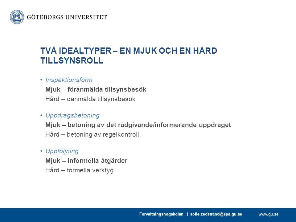 www.gu.se TVÅ IDEALTYPER – EN MJUK OCH EN HÅRD TILLSYNSROLL Inspektionsform Mjuk – föranmälda tillsynsbesök Hård – oanmälda tillsynsbesök Uppdragsbeto