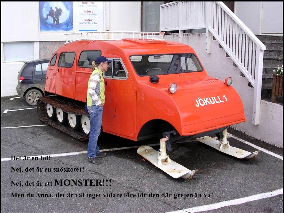 Det är en bil! Nej, det är en snöskoter! Nej, det är ett MONSTER!!! Men du Anna, det är väl inget vidare före för den där grejen än va!