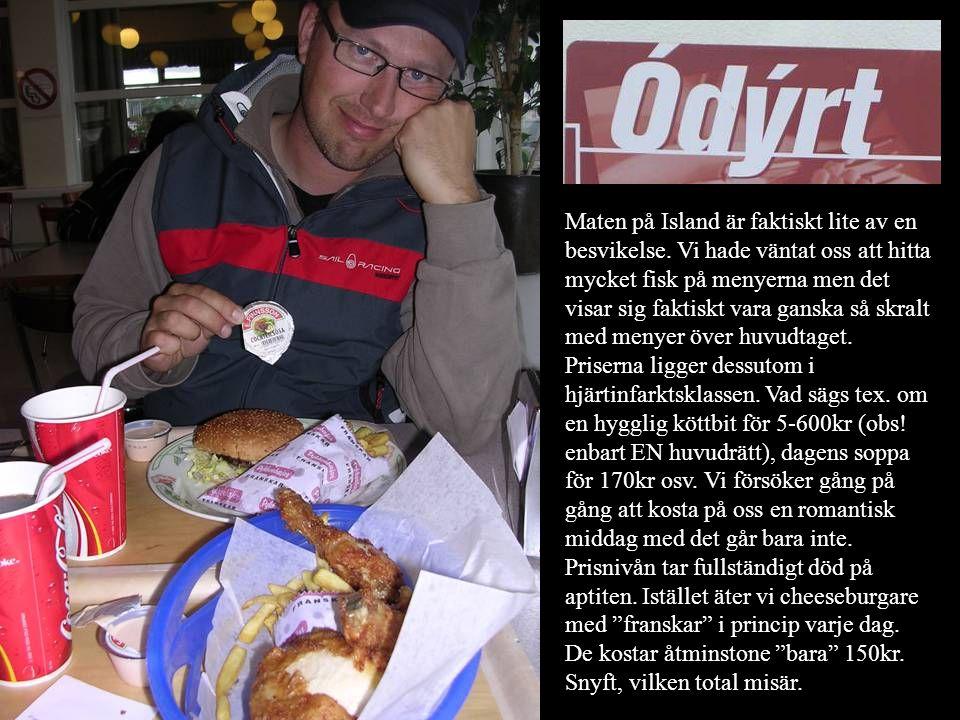 Maten på Island är faktiskt lite av en besvikelse. Vi hade väntat oss att hitta mycket fisk på menyerna men det visar sig faktiskt vara ganska så skra