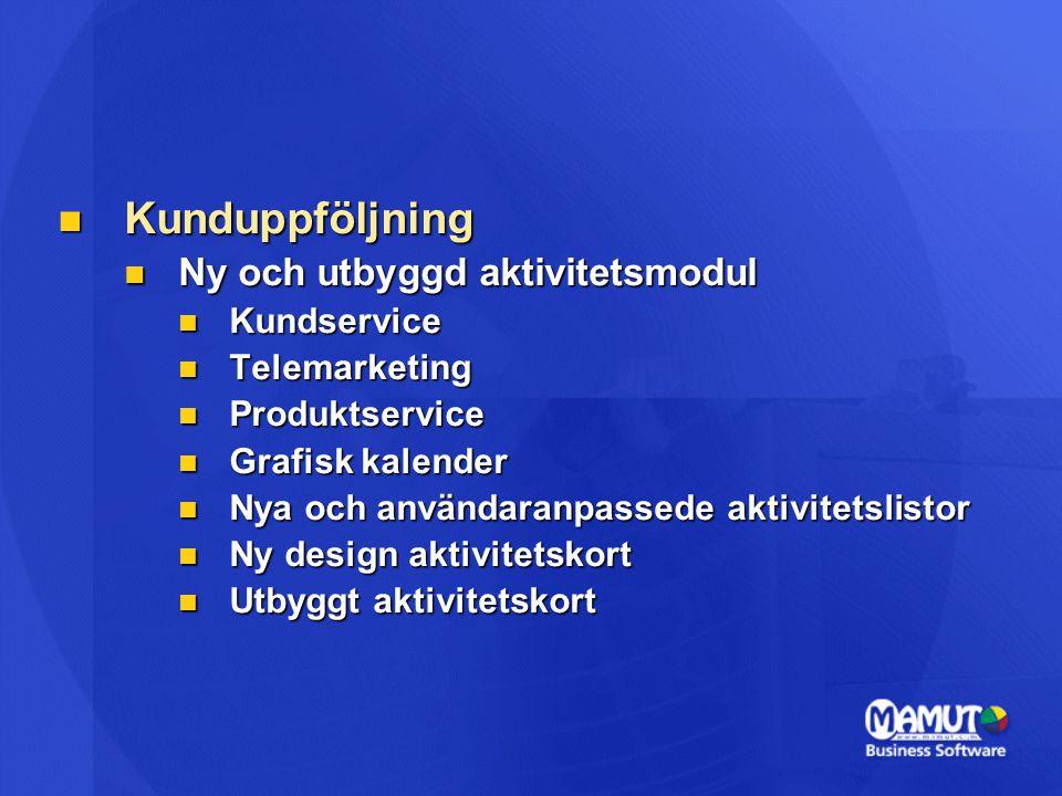 Kunduppföljning Kunduppföljning Ny och utbyggd aktivitetsmodul Ny och utbyggd aktivitetsmodul Kundservice Kundservice Telemarketing Telemarketing Prod