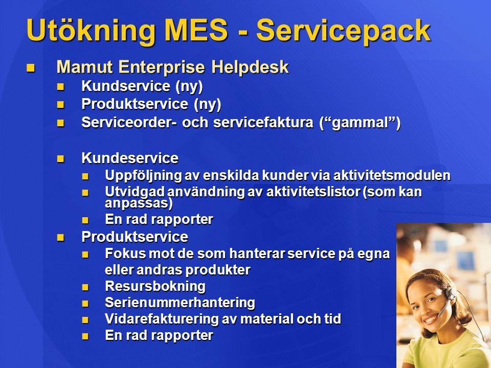 Utökning MES - Servicepack Mamut Enterprise Helpdesk Mamut Enterprise Helpdesk Kundservice (ny) Kundservice (ny) Produktservice (ny) Produktservice (n