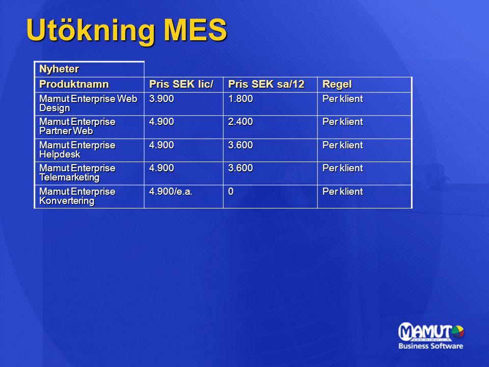 Utökning MES Nyheter Produktnamn Pris SEK lic/ Pris SEK sa/12 Regel Mamut Enterprise Web Design 3.9001.800 Per klient Mamut Enterprise Partner Web 4.9