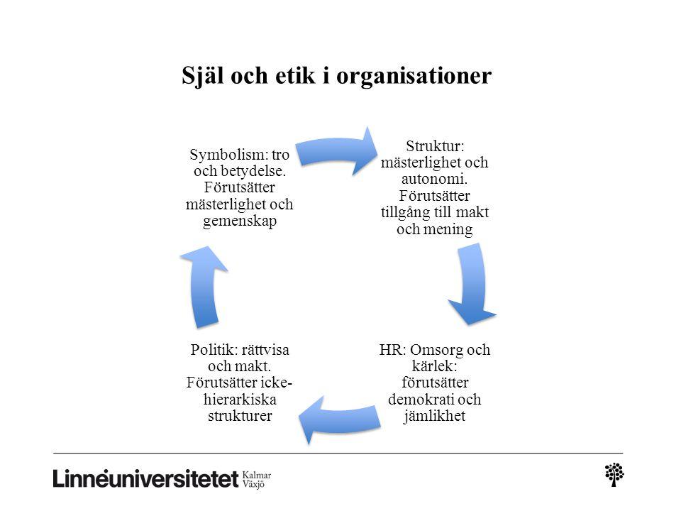 Själ och etik i organisationer Struktur: mästerlighet och autonomi. Förutsätter tillgång till makt och mening HR: Omsorg och kärlek: förutsätter demok