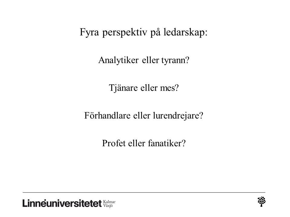 Fyra perspektiv på ledarskap: Analytiker eller tyrann? Tjänare eller mes? Förhandlare eller lurendrejare? Profet eller fanatiker?
