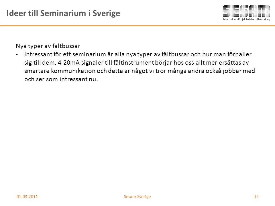01-03-2011Sesam Sverige12 Ideer till Seminarium i Sverige Nya typer av fältbussar -intressant för ett seminarium är alla nya typer av fältbussar och h