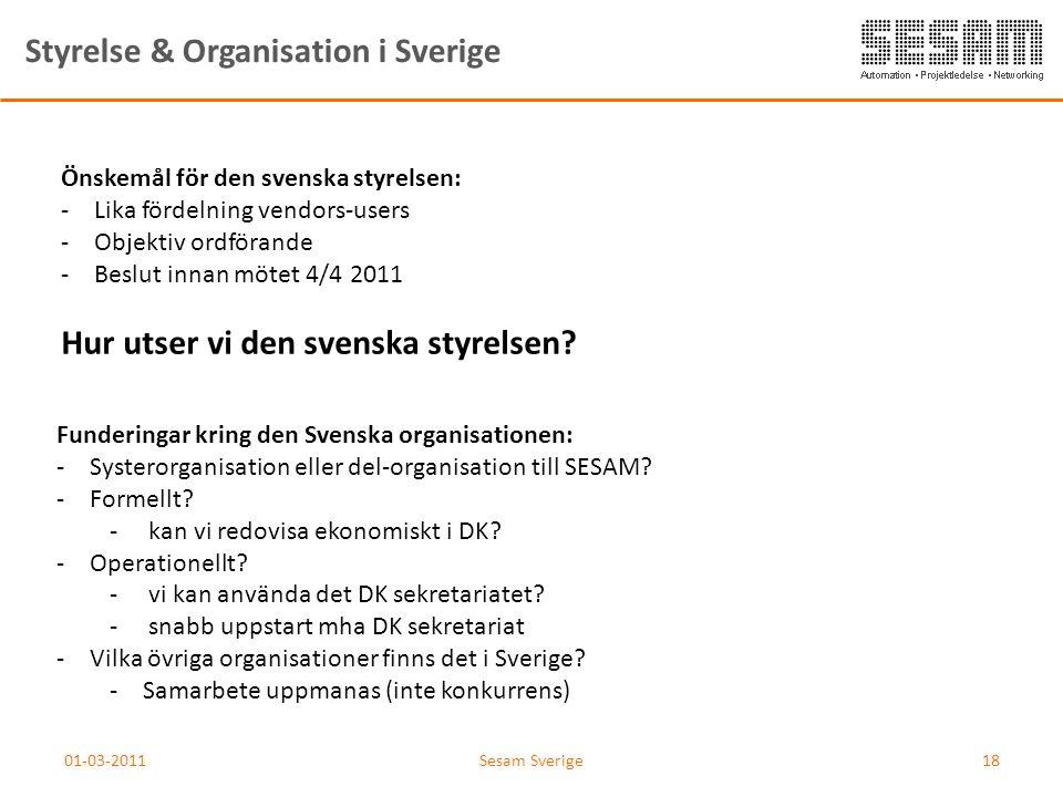 01-03-2011Sesam Sverige18 Styrelse & Organisation i Sverige Önskemål för den svenska styrelsen: -Lika fördelning vendors-users -Objektiv ordförande -B