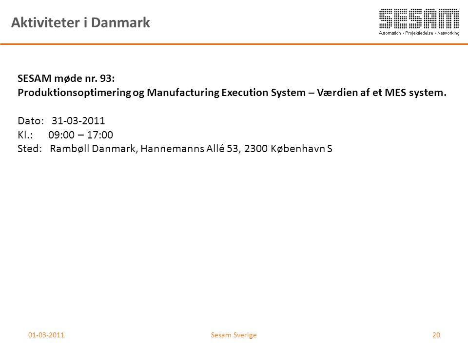 01-03-2011Sesam Sverige20 Aktiviteter i Danmark SESAM møde nr. 93: Produktionsoptimering og Manufacturing Execution System – Værdien af et MES system.