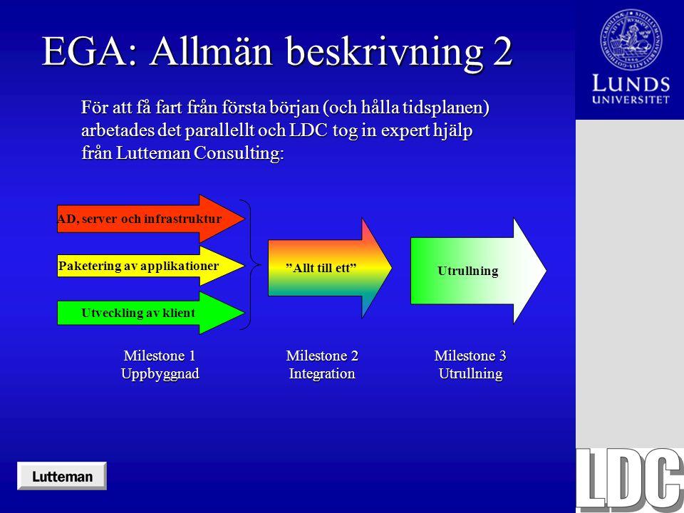 EGA: Allmän beskrivning 2 För att få fart från första början (och hålla tidsplanen) arbetades det parallellt och LDC tog in expert hjälp från Lutteman