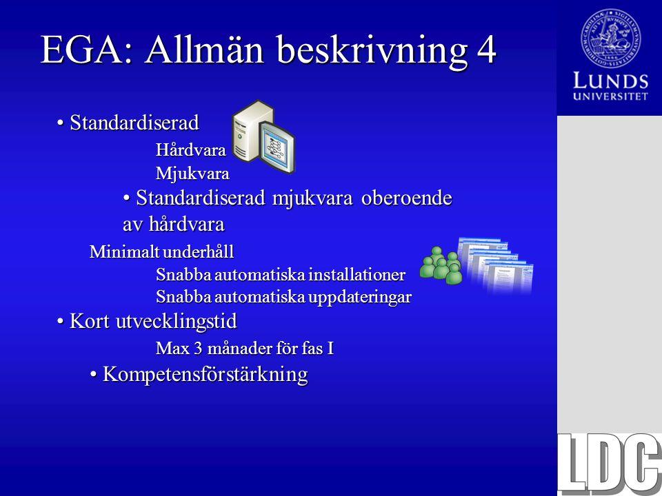 EGA: Allmän beskrivning 4 Standardiserad StandardiseradHårdvaraMjukvara Standardiserad mjukvara oberoende av hårdvara Standardiserad mjukvara oberoend