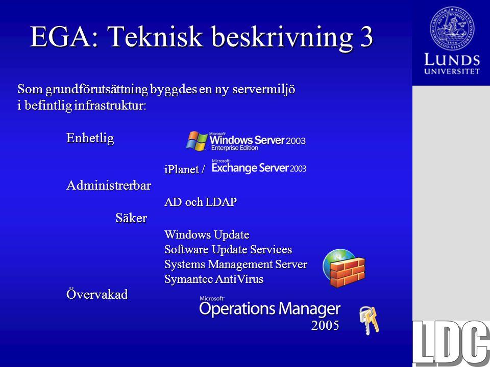 EGA: Teknisk beskrivning 3 Som grundförutsättning byggdes en ny servermiljö i befintlig infrastruktur: Enhetlig iPlanet / Administrerbar AD och LDAP S