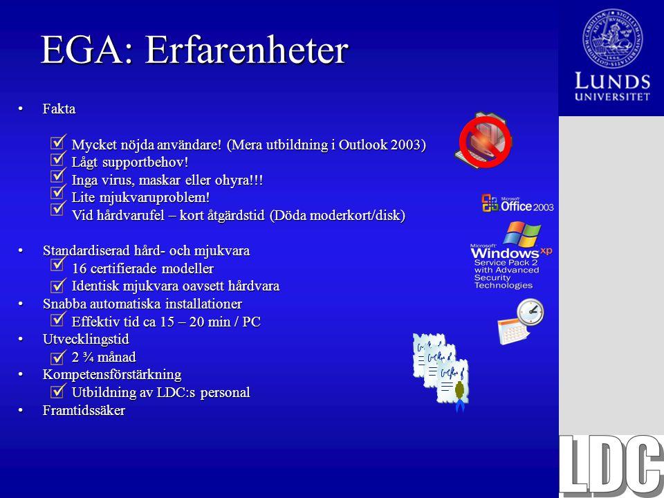 EGA: Erfarenheter FaktaFakta Mycket nöjda användare! (Mera utbildning i Outlook 2003) Lågt supportbehov! Inga virus, maskar eller ohyra!!! Lite mjukva