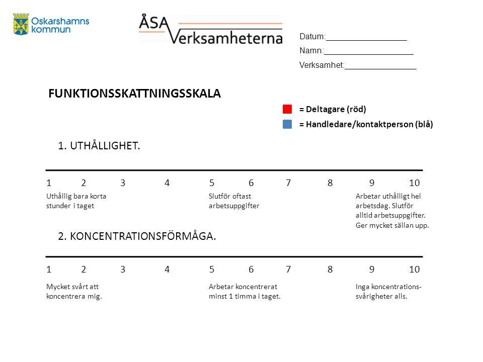 FUNKTIONSSKATTNINGSSKALA 1. UTHÅLLIGHET. 2. KONCENTRATIONSFÖRMÅGA.