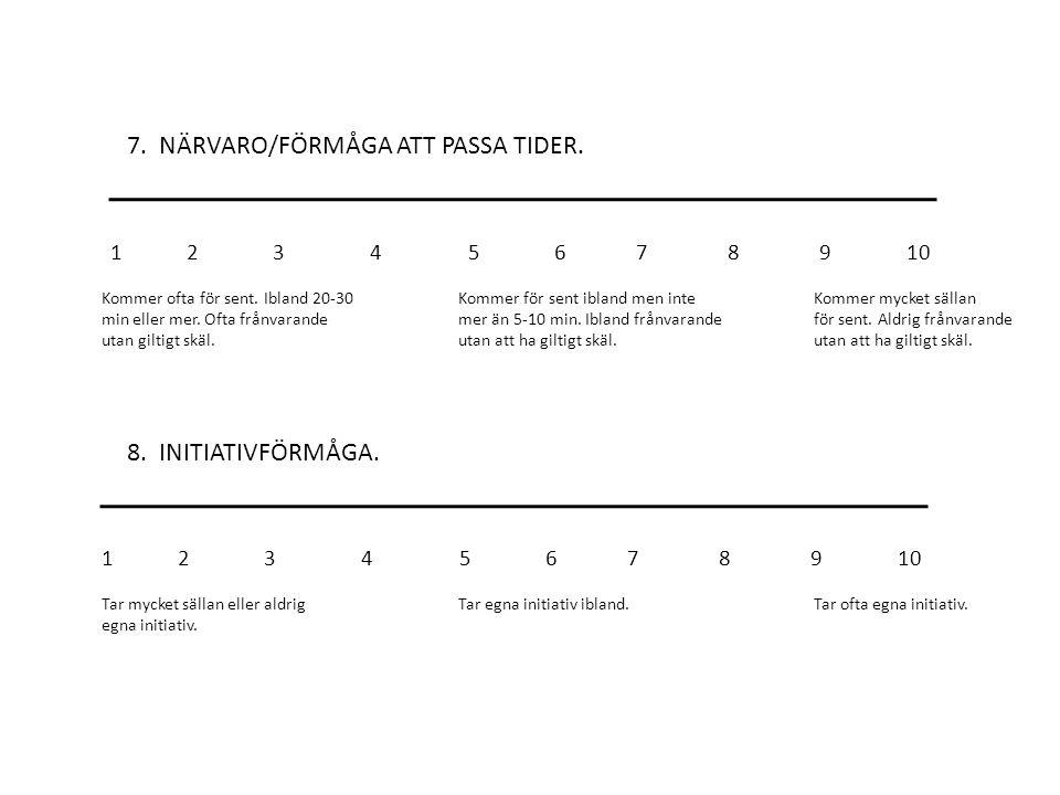 7. NÄRVARO/FÖRMÅGA ATT PASSA TIDER. 8. INITIATIVFÖRMÅGA.