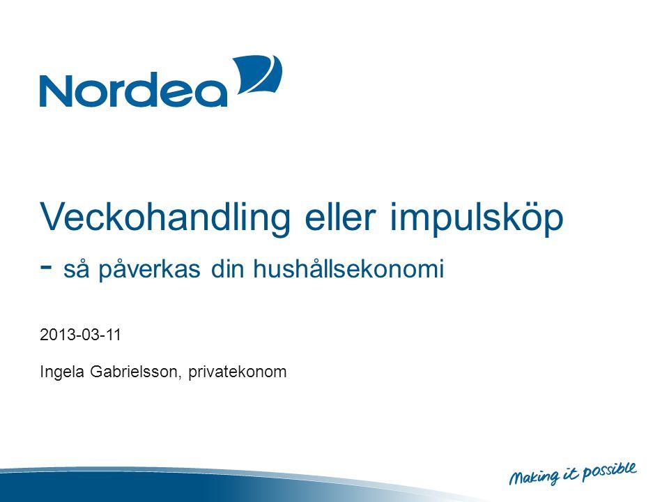 Veckohandling eller impulsköp - så påverkas din hushållsekonomi 2013-03-11 Ingela Gabrielsson, privatekonom