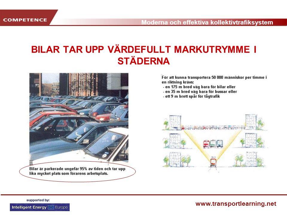 Moderna och effektiva kollektivtrafiksystem www.transportlearning.net BILAR TAR UPP VÄRDEFULLT MARKUTRYMME I STÄDERNA