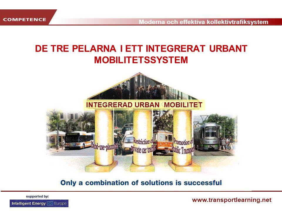Moderna och effektiva kollektivtrafiksystem www.transportlearning.net INTEGRERAD URBAN MOBILITET DE TRE PELARNA I ETT INTEGRERAT URBANT MOBILITETSSYST