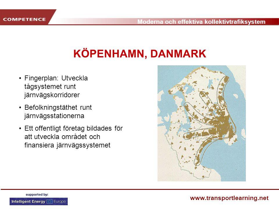 Moderna och effektiva kollektivtrafiksystem www.transportlearning.net KÖPENHAMN, DANMARK Fingerplan: Utveckla tågsystemet runt järnvägskorridorer Befo