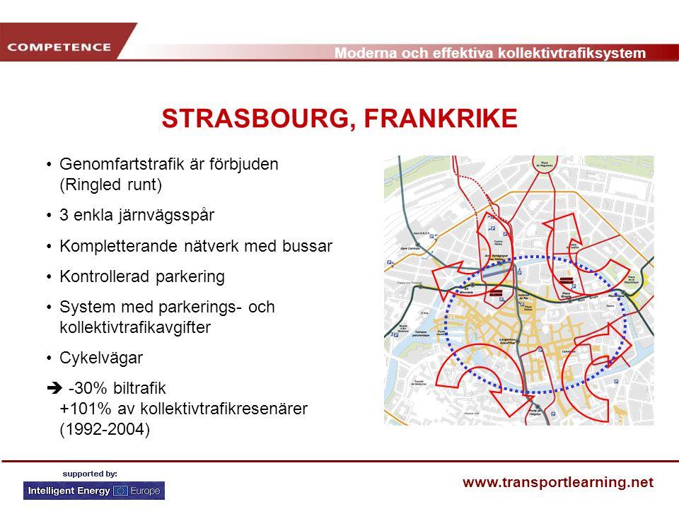 Moderna och effektiva kollektivtrafiksystem www.transportlearning.net STRASBOURG, FRANKRIKE Genomfartstrafik är förbjuden (Ringled runt) 3 enkla järnv